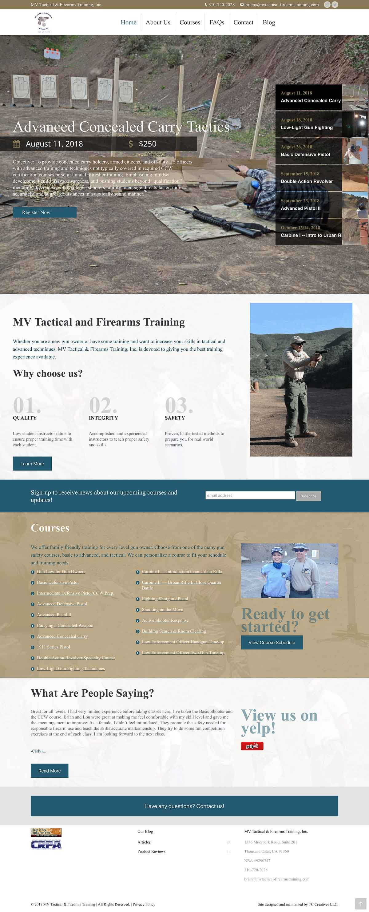 MV Tactical & Firearms Training Website Redesign